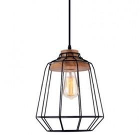 Lampa wisząca Scandi metal drewno E27 LED