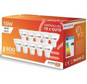 10x Żarówka LED GU10 10W biała neutralna