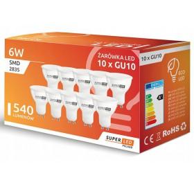 10x Żarówka LED GU10 6W biała zimna