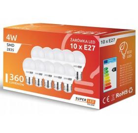 10 x Żarówka LED E27 4W G45 biała ciepła