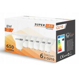 6x Żarówka SLP LED GU10 8W biała ciepła