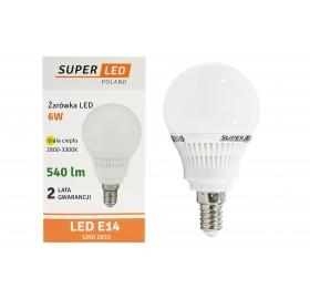 Żarówka LED E14 SMD 2835 540lm 6w = 55w kulka