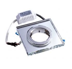 Oprawa GU10 podświetlana LED szklana biała zimna