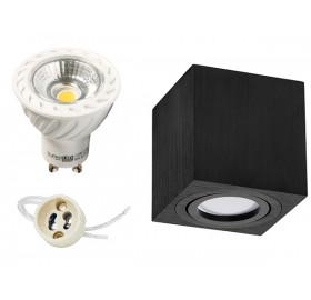 Zestaw: oprawa natynkowa + żarówka GU10 LED COB+ gniazdo gu10