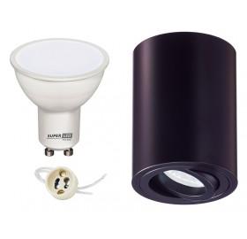 Zestaw oprawa natynkowa + żarówka LED GU10 5W biała ciepła