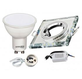 Zestaw LED GU10 5W+ Oprawa halogenowa podświetlana lustrzana