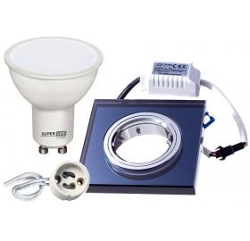 Zestaw LED GU10 5W+ Oprawa halogenowa podświetlana czarna