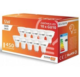 10 x Żarówka LED GU10 5W biała ciepła