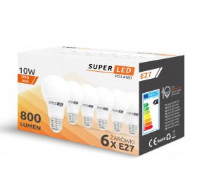 6x Żarówka LED E27 10W kulka biała ciepła