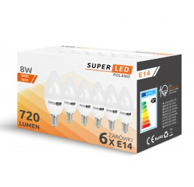 6x Żarówka LED E14 8W świeczka biała ciepła
