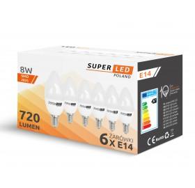 6x Żarówka LED E14 8W świeczka biała zimna