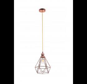Lampa sufitowa wisząca Diament klatka Loft E27 LED Daku róż