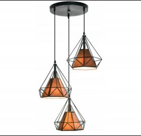 Lampa sufitowa wisząca Diament Loft E27 LED 3x