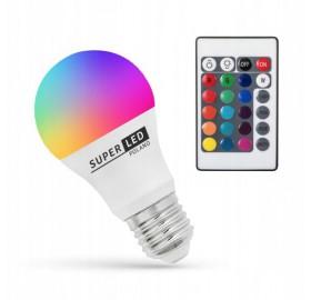 Żarówka LED E27 RGB 7W 860lm Kolorowa + pilot