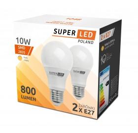 2x Żarówka LED (DWUPAK) 10W = 80W E27 ciepła