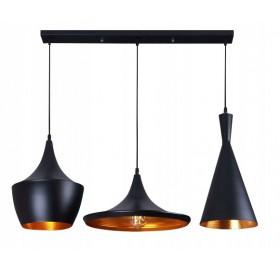 Lampa sufitowa wisząca Edison Loft Gold 3x E27 LED