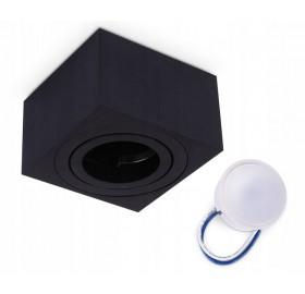 Oprawa natynkowa spot LED kwadrat CZARNA + żarówka LED 5W